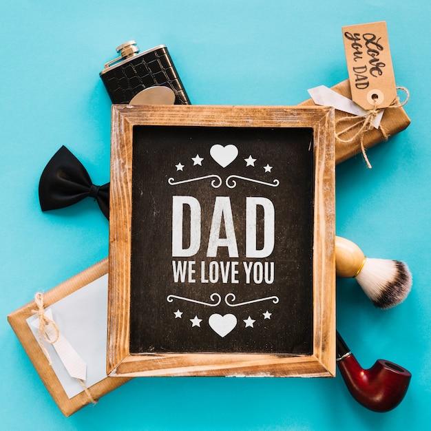 Fathers day mockup with slate Free Psd