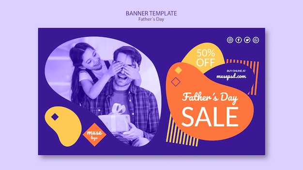 Fathers day promotional sale banner template Free Psd