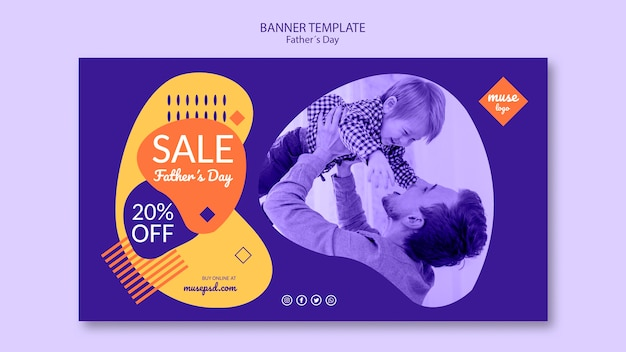 Fathers day sale banner template theme Free Psd