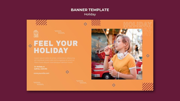Feel the holiday banner template Free Psd