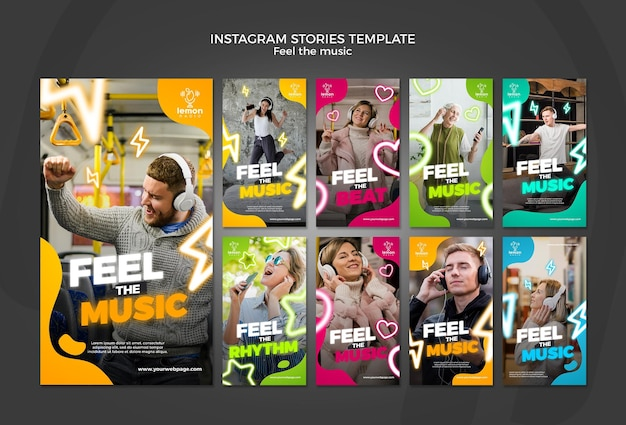 Feel the music concept instagram stories template Free Psd