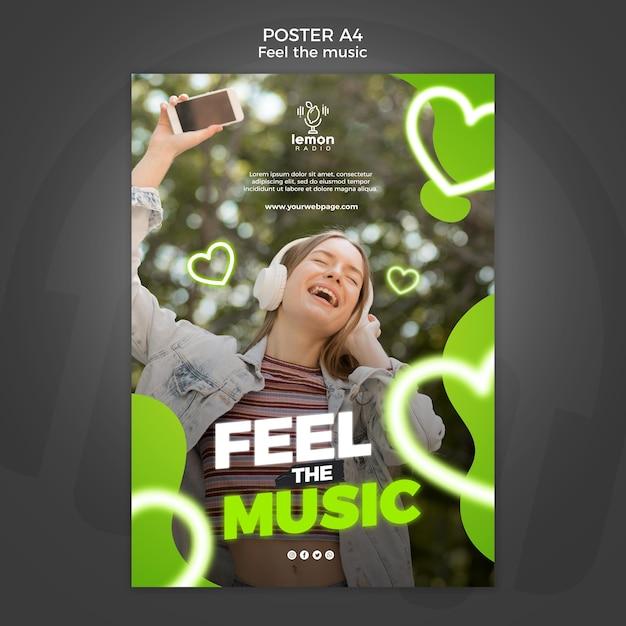 Senti il modello di poster del concetto di musica Psd Gratuite