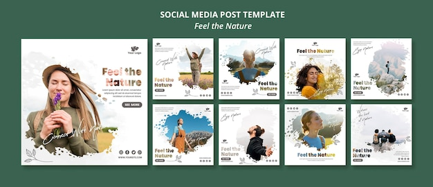 Feel the nature instagram post template Premium Psd
