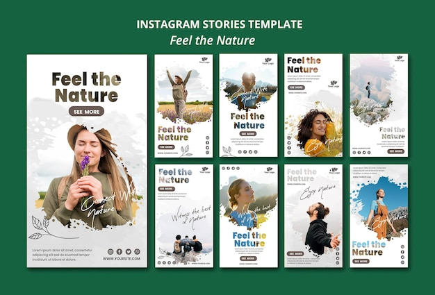 Feel the nature instagram stories template Free Psd