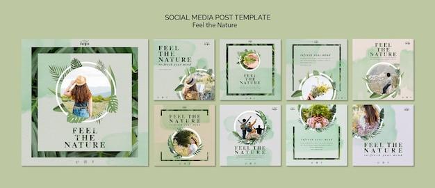 Feel the nature social media post Free Psd