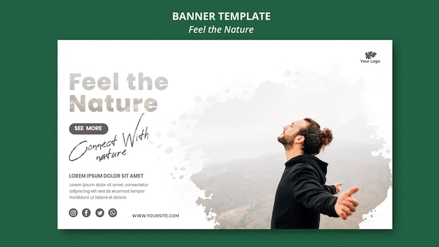 Feel the nature template horizontal banner Free Psd