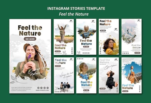 자연 instagram 이야기 템플릿을 느껴보십시오 무료 PSD 파일