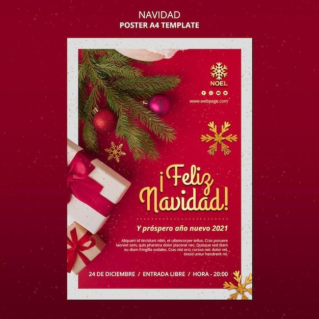 Feliz navidad flyer template with presents Free Psd
