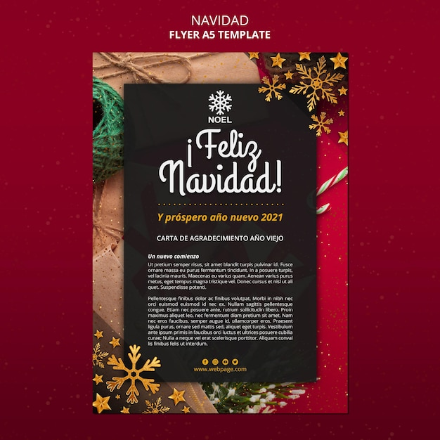 Feliz navidad poster template with photo Free Psd