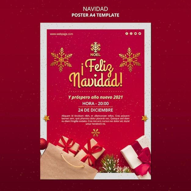 Feliz navidad poster template with presents Free Psd