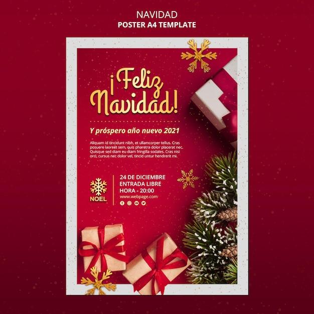 Feliz navidad poster template Free Psd