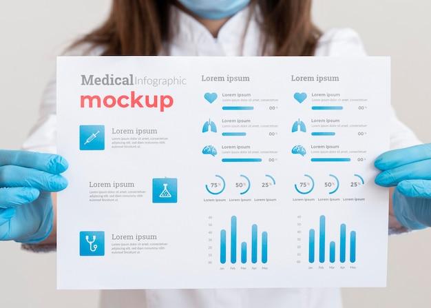 Medico femminile che mostra un'infografica del vaccino Psd Gratuite