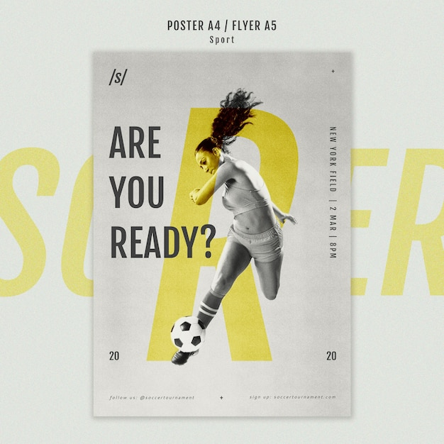 Female football player poster template Free Psd