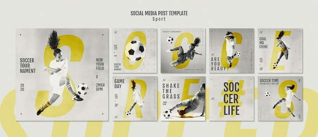 Female football player social media posts Free Psd