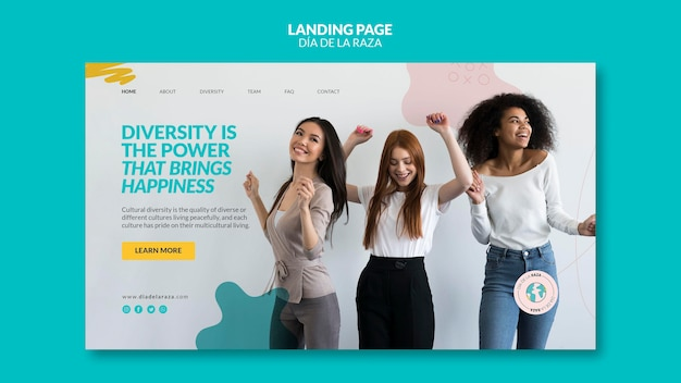 Female friends of diverse ethnicity landing page Free Psd