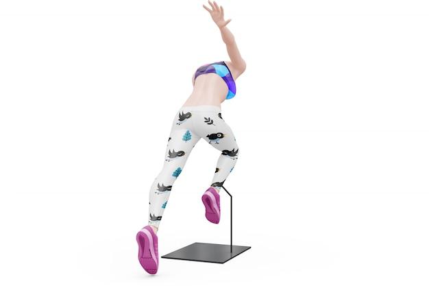 고립 된 여성 스포츠 복장 모형 무료 PSD 파일