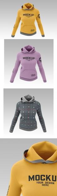 Female sweatshirt hoodie mockup Premium Psd