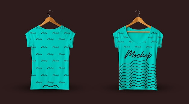Female t-shirt mockup teal dark background Premium Psd
