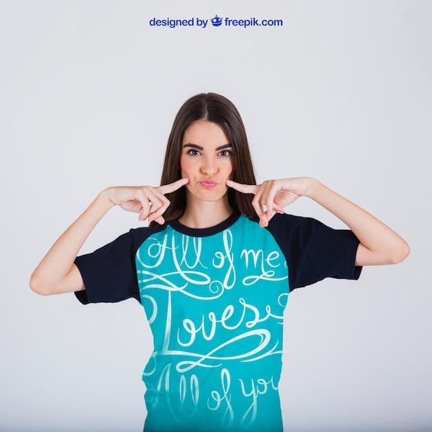 Female t-shirt print concept Free Psd