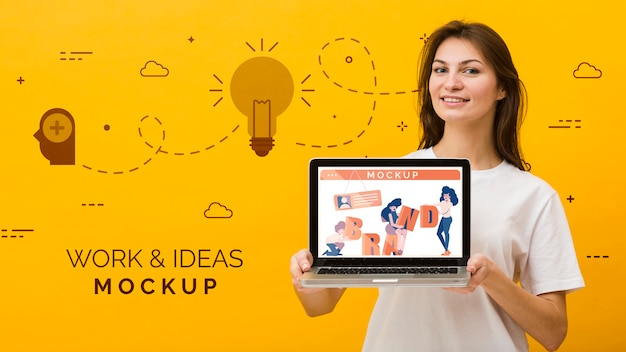 Female with laptop Free Psd