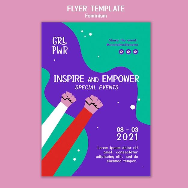 Feminism flyer template Free Psd