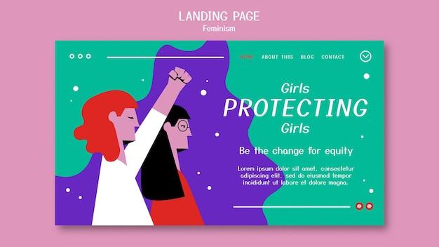 Целевая страница феминизма Бесплатные Psd
