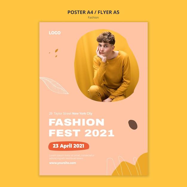 Fest modello di poster di moda maschile Psd Gratuite