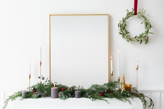 흰 벽에 축제 골든 포토 프레임 무료 PSD 파일