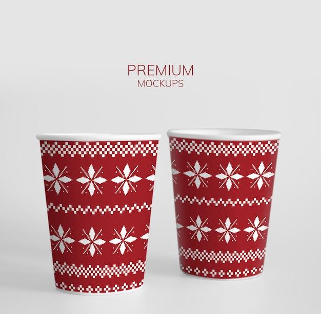 Festive paper cup design mockup Free Psd