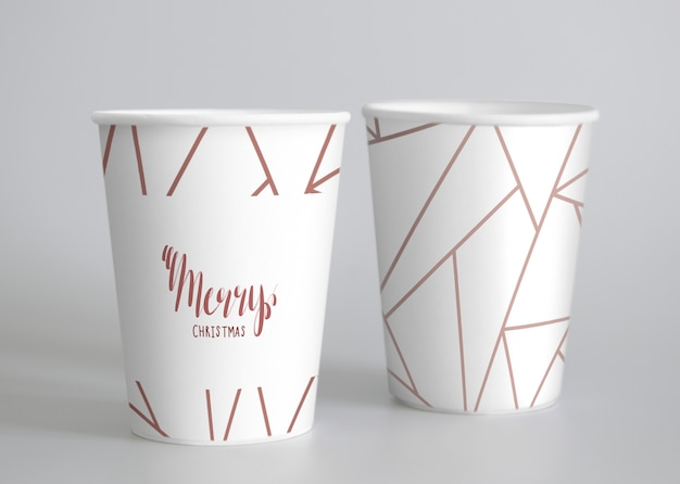 Festive paper cup mockup Free Psd
