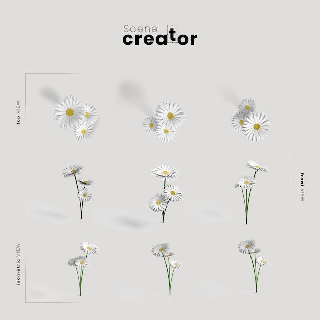 春のシーンクリエイターの野の花ビュー 無料 Psd