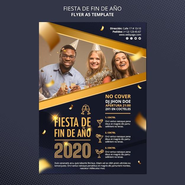 Fiesta de fin de ano 2020 flyer template Free Psd