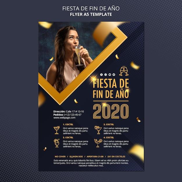 Fiesta de fin de ano 2020 flyer Free Psd