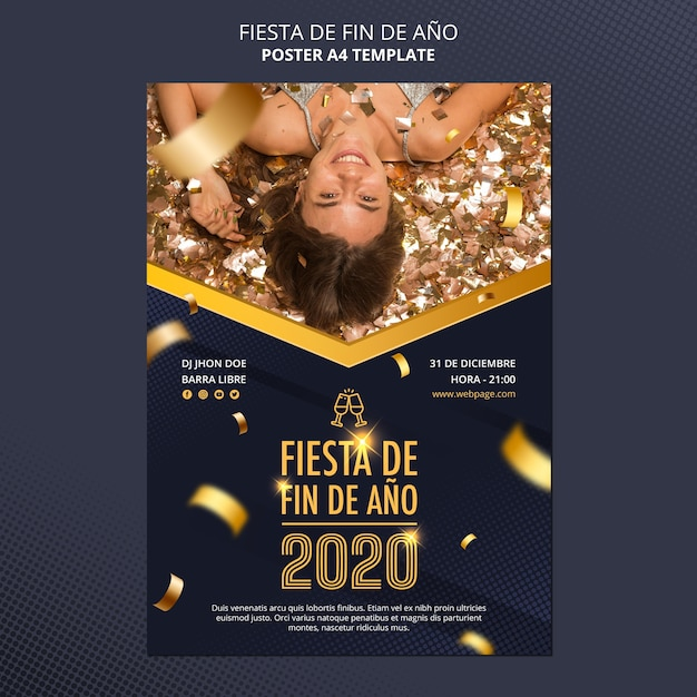 Fiesta de fin de ano 2020 poster Free Psd