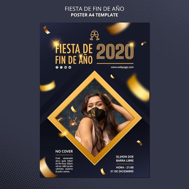 Fiesta de fin de ano celebration poster template Free Psd