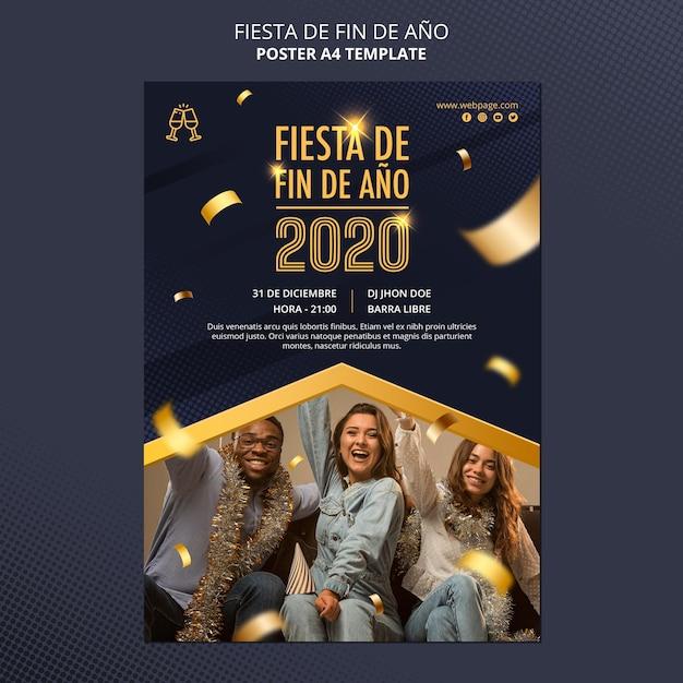 Fiesta de fin de ano poster template Free Psd