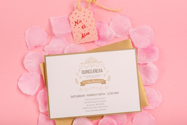 Fifteen birthday invitation and label Free Psd