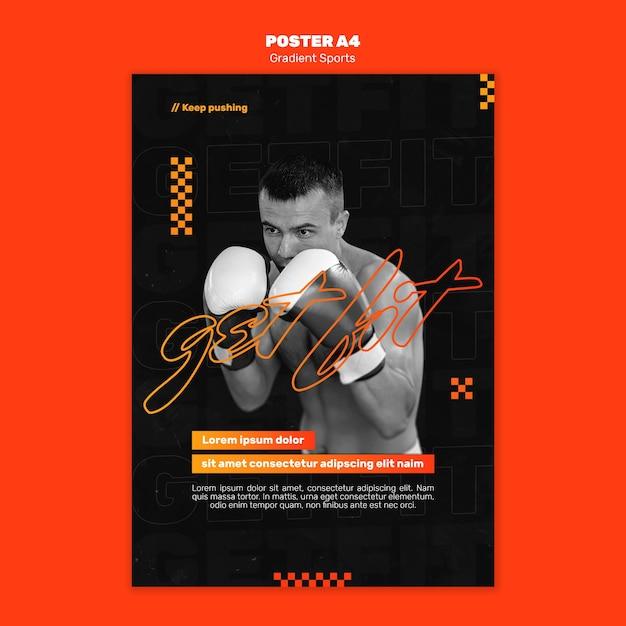 Modello di poster di sport di combattimento Psd Gratuite