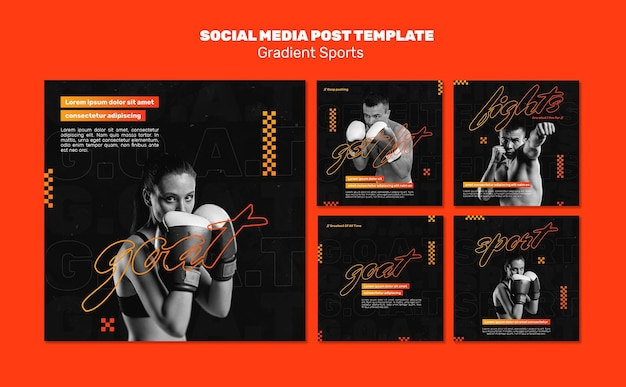 Fighting sports social media post template Free Psd
