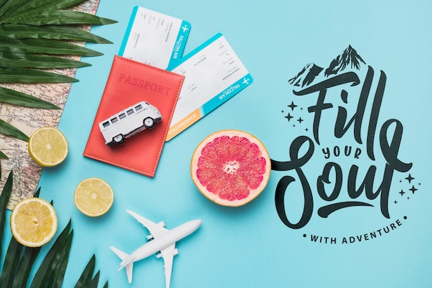 Fill your soul, motivational lettering quote for holidays traveling concept Free Psd