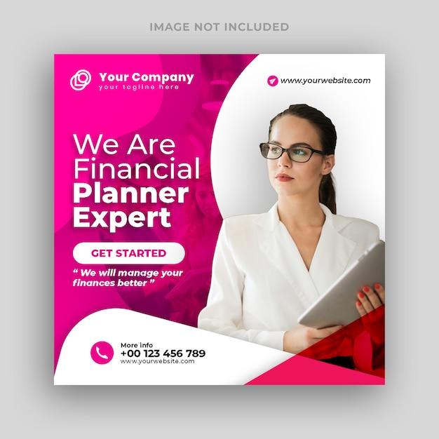 Financial planner social media post banner Premium Psd