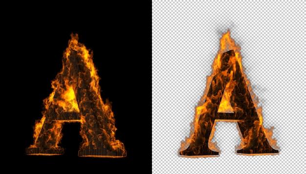 火のアルファベット。 Premium Psd