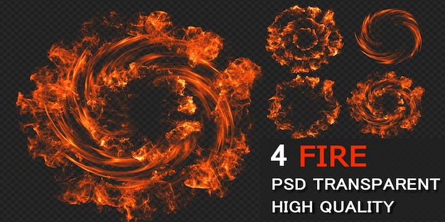 Fire explode pack design isolated Premium Psd