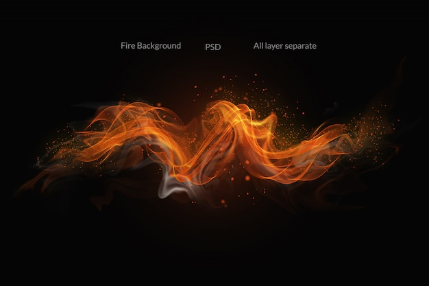 Fire flames on black background Premium Psd
