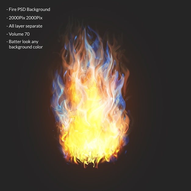 Fire flames effect layer Premium Psd