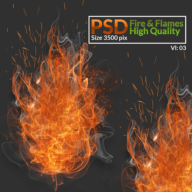 Fire & flames high quality Premium Psd