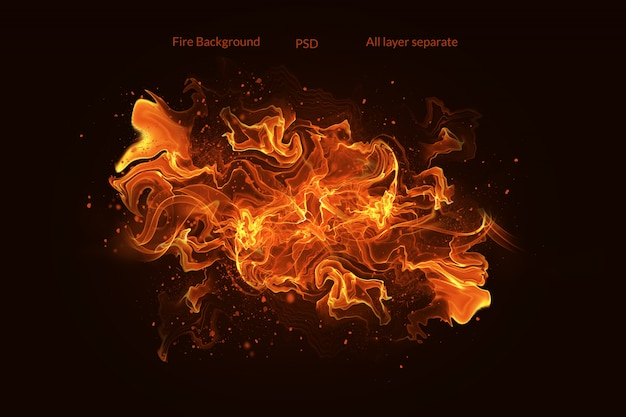 Fire flames with sparks on a black background Premium Psd