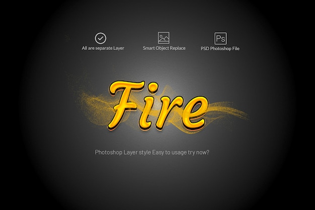 Fire text effects with motion smoke Premium Psd