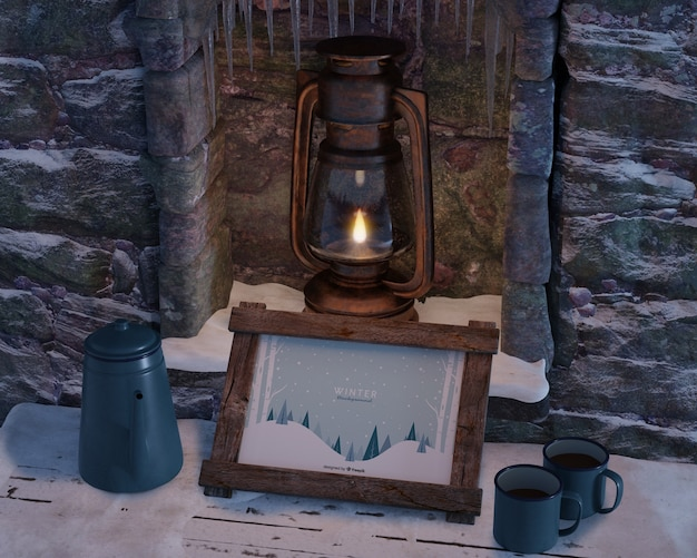 Fireplace with kettle and frame Free Psd
