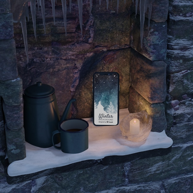 Fireplace with kettle and phone Free Psd
